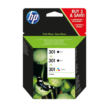 Image for 2x HP 301 Black & 1x Colour Ink Cartridge Combo Triple Pack