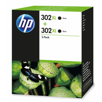 2x Original HP 302XL Black Ink Cartridge F6U68AE