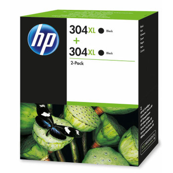 2x Original HP 304XL Black Ink Cartridge N9K08AE Boxed