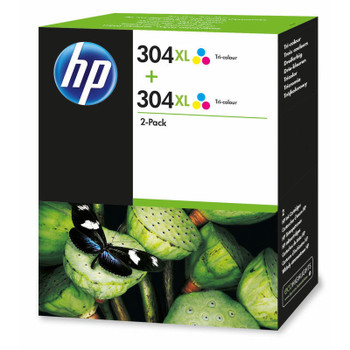 2x Original HP 304XL Colour Ink Cartridge N9K07AE Boxed