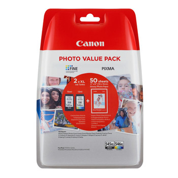Original Canon PG545XL Black CL546XL Colour Ink Cartridge Combo Value Pack with photo paper 8286B007AA