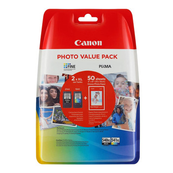 Canon Original PG540XL Black and CL541XL Colour Ink Cartridge Photo Value Pack 5222B013AA