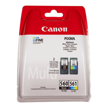 Canon Original PG560 Black and CL561 Colour Ink Cartridge Combo Pack 3713C006AA