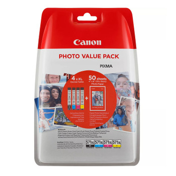 Canon Original CLI571XL Black Cyan Magenta Yellow Ink Cartridge Photo Value Pack 0332C005