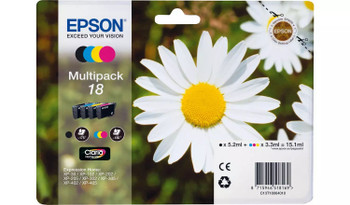 Epson original 18 black cyan magenta yellow multi-pack ink cartridges C13T18064012