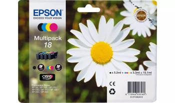 Epson original 18 black cyan magenta yellow multi-pack ink cartridges C13T18064012