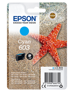 Epson original 603 cyan ink cartridge C13T03U24010