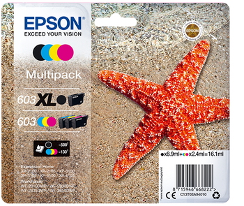 Epson original 603XL multipack black 603 cyan magenta yellow ink cartridges C13T03A94010