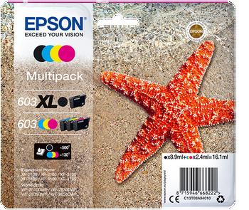 Epson original 603XL multipack black 603 cyan magenta yellow ink cartridges C13T03A94010