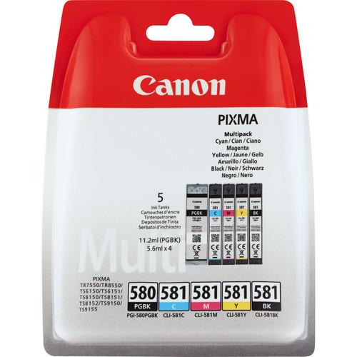 Canon Original PG580 Black CL581 Cyan Magenta Yellow Black Ink Cartridge Combo Pack 2078C006