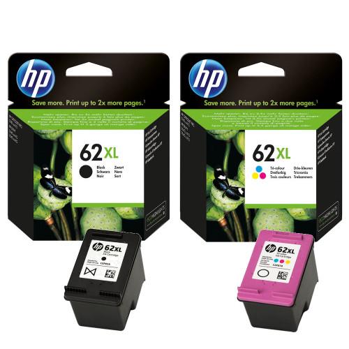 Original HP 62XL Black & Colour Ink Cartridge C2P05AE C2P07AE