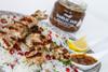 Jerk chicken skewers with rice and Garlic Jam