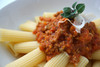 Italian sausage pasta with snag jam.