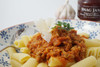 Italian sausage pasta with smoked tomato snag jam.
