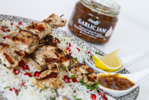 Jerk chicken skewers with rice and Garlic Jam