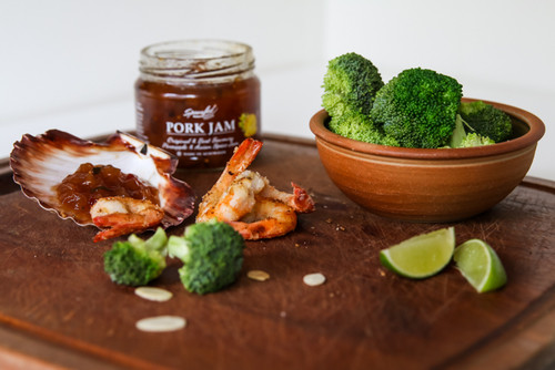 Coconut prawns with broccoli and Pork Jam