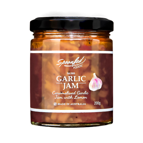 Garlic jam, caramelised garlic with lemon. Brilliant with steak, sausages, poultry, cheese & stir-fries.