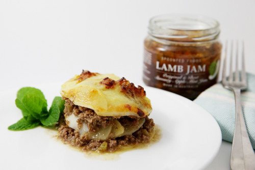 Lamb and potato bake infused with rosemary and Lamb jam