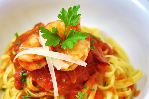 Prawn and chorizo pasta with Garlic Jam