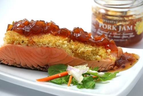 Couscous crusted salmon with Pork Jam pineapple glaze