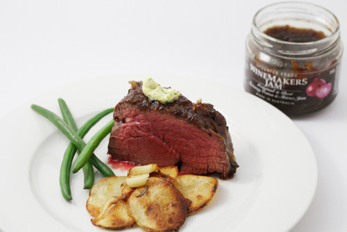 Oven Roasted eye fillet with Winemakers/Red Onion Jam & garlic butter