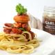 Prawn and chorizo pasta with garlic jam.