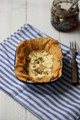 Crisp Savoury Tart with fresh goat cheese, honey, pine nuts and Spoonfed Foods Red Onion or Winemakers Jam
