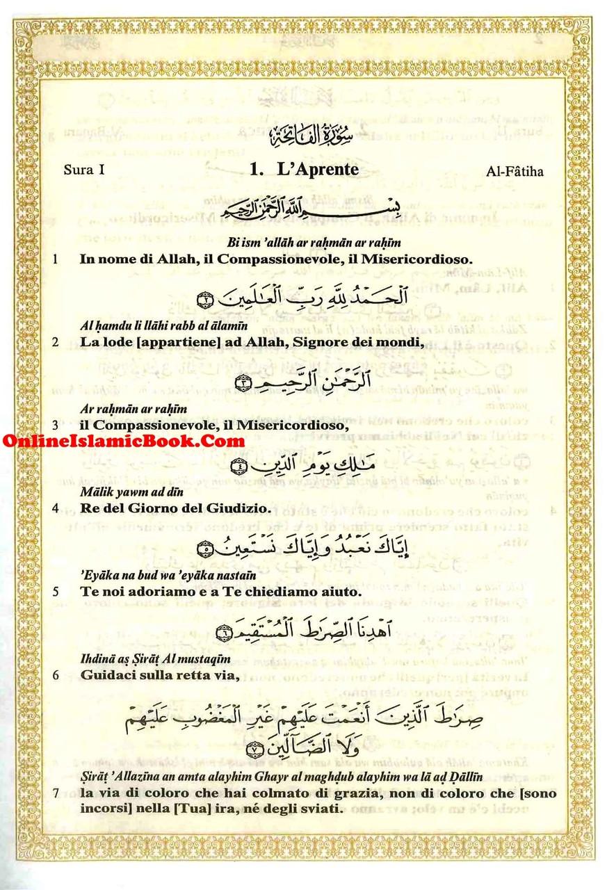 Quran In Italian Language ( Translation in Italian , Transliteration In  English) IL Sacro Corano e la traduzione in lingua italiana del senso dei  suoi