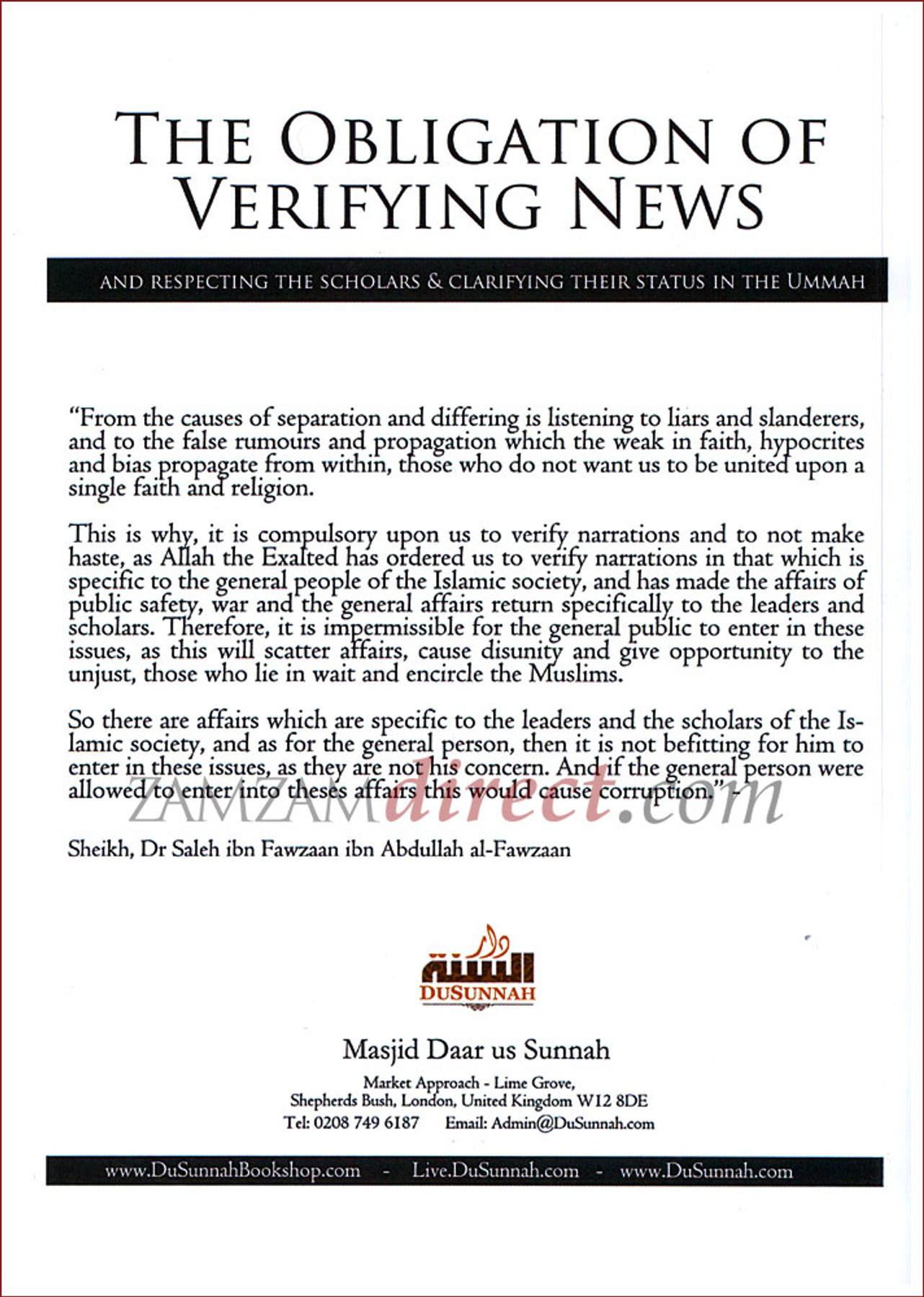 The Obligation of Verifying News (And Respecting The Scholars & Clarifying Their status In The Ummah)