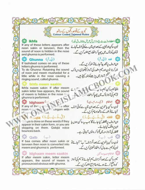 Alif Laam Meem Colour Coded Tajweed Rules : Persian ,Pakistani ,Indian Script,Ref 401