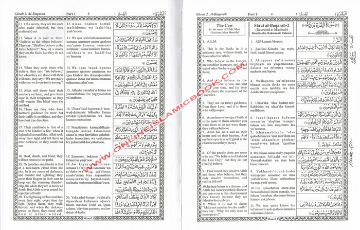 The Holy Quran Transliteration in Roman Script with Arabic Text and English Translation