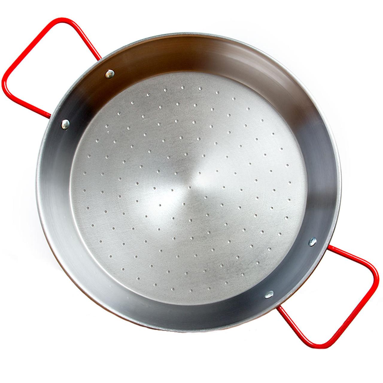 Polished Steel Valencian paella pan 14 Inch 34cm 6 Servings