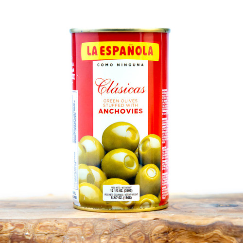 La Española aceitunas con anchoa, Spanish olives stuffed with anchovies
