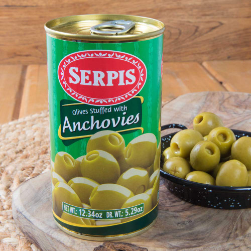 Manzanilla olives stuffed with Anchovies by Serpis