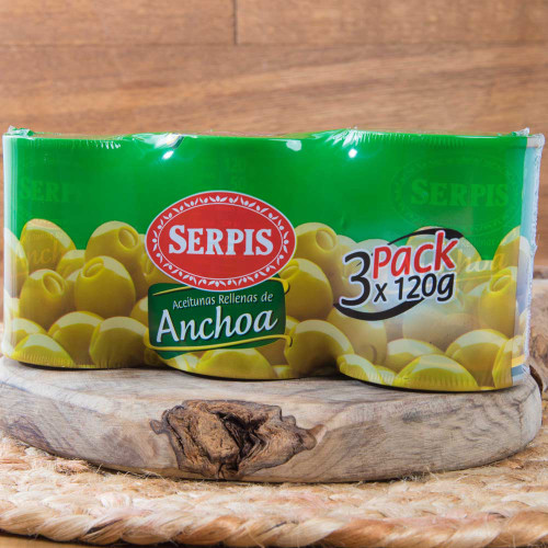 3-pack Manzanilla olives stuffed with Anchovies by Serpis