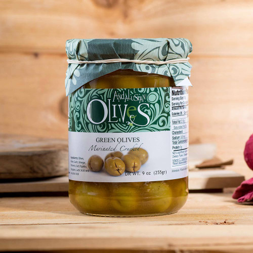 Cracked Green Marinated Olives