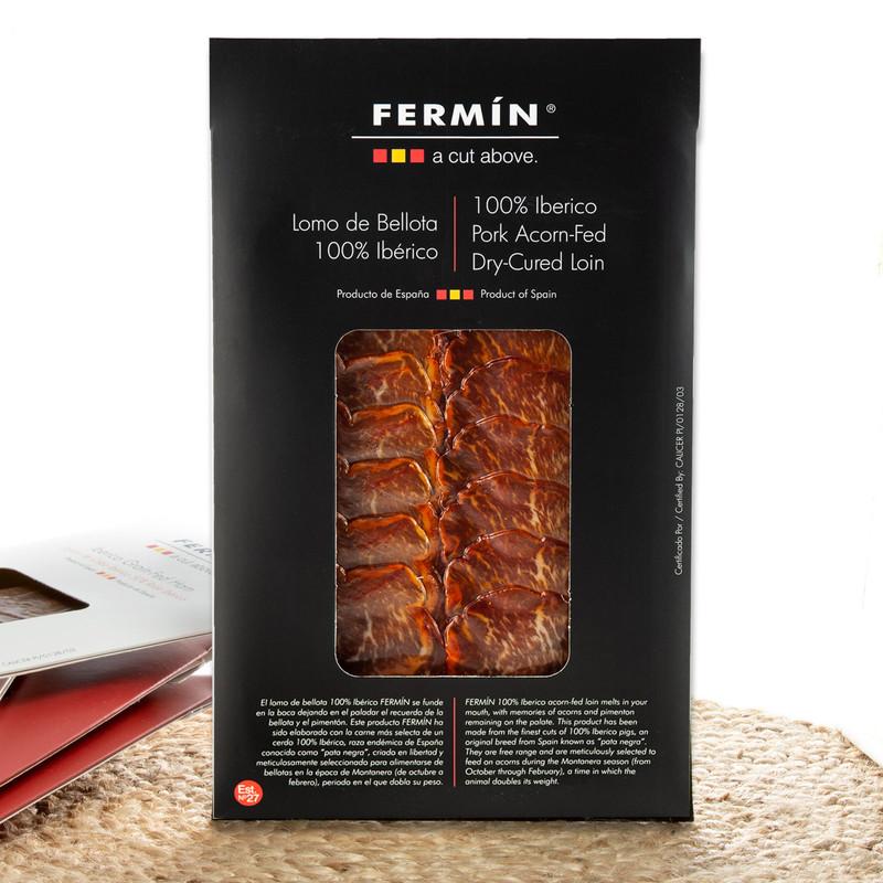 Lomo - Dry-Cured Iberico de Bellota Pork Loin in Slices by Fermín - 2 oz