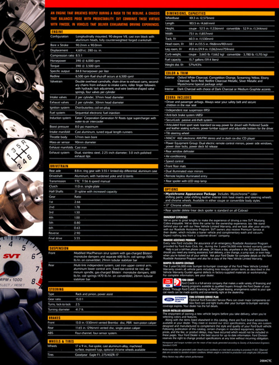 2004 Cobra Tech Card