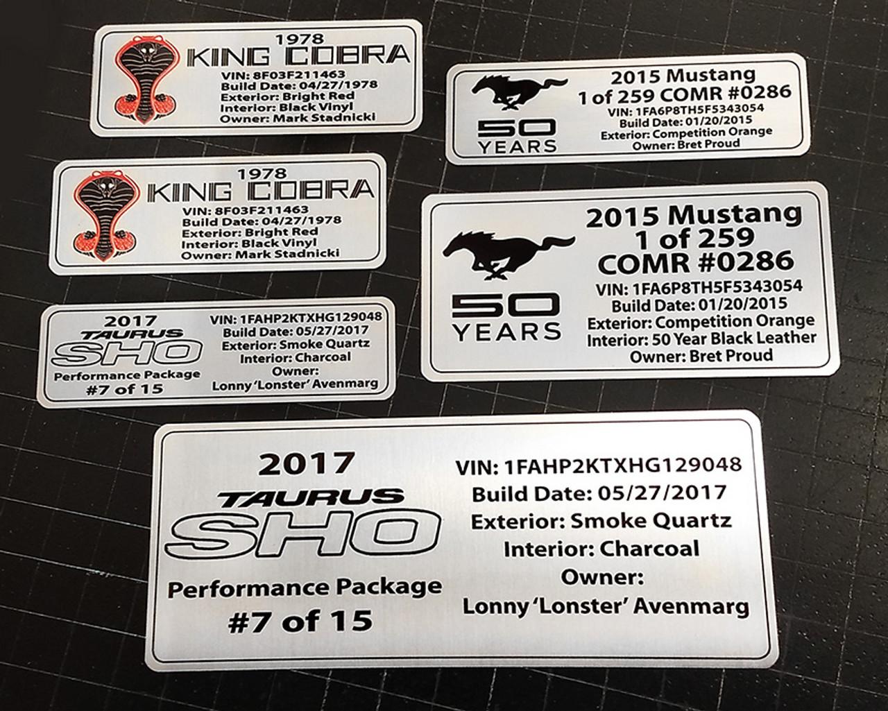 Customized Vehicle Data Plates - Set of 2