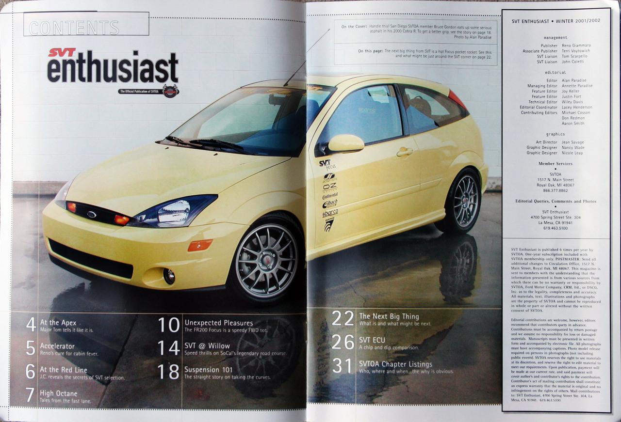SVT Enthusiast Magazine - Winter 2001