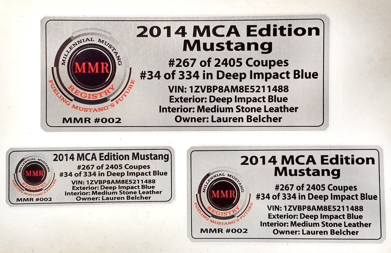 MMR Customized Vehicle Data Plates - Set of 2