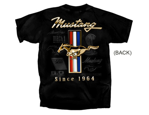 Ford Mustang T Shirt - Gold Tribar