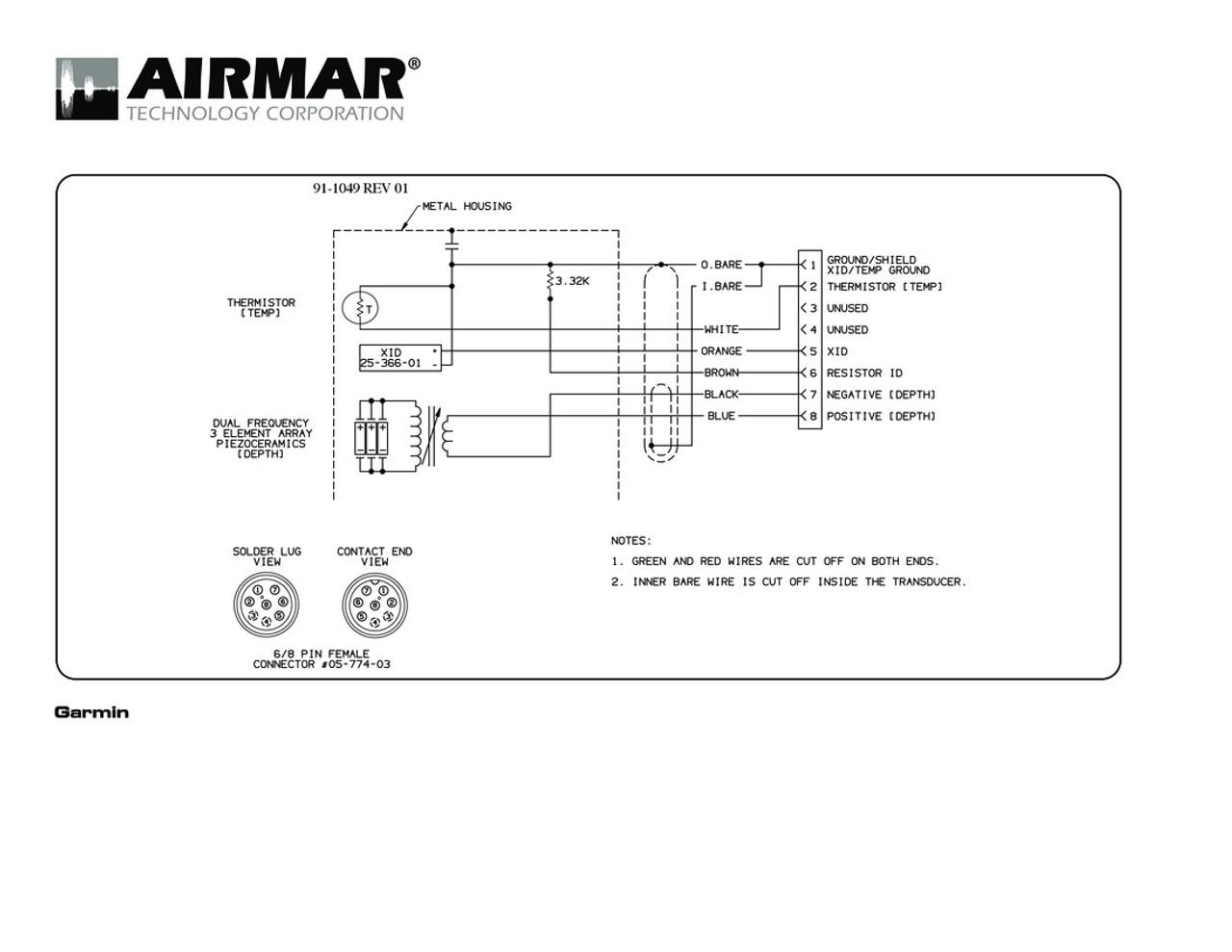 Airmar Wiring Diagram Garmin B164 8 pin (D,T) | Blue Bottle ... on