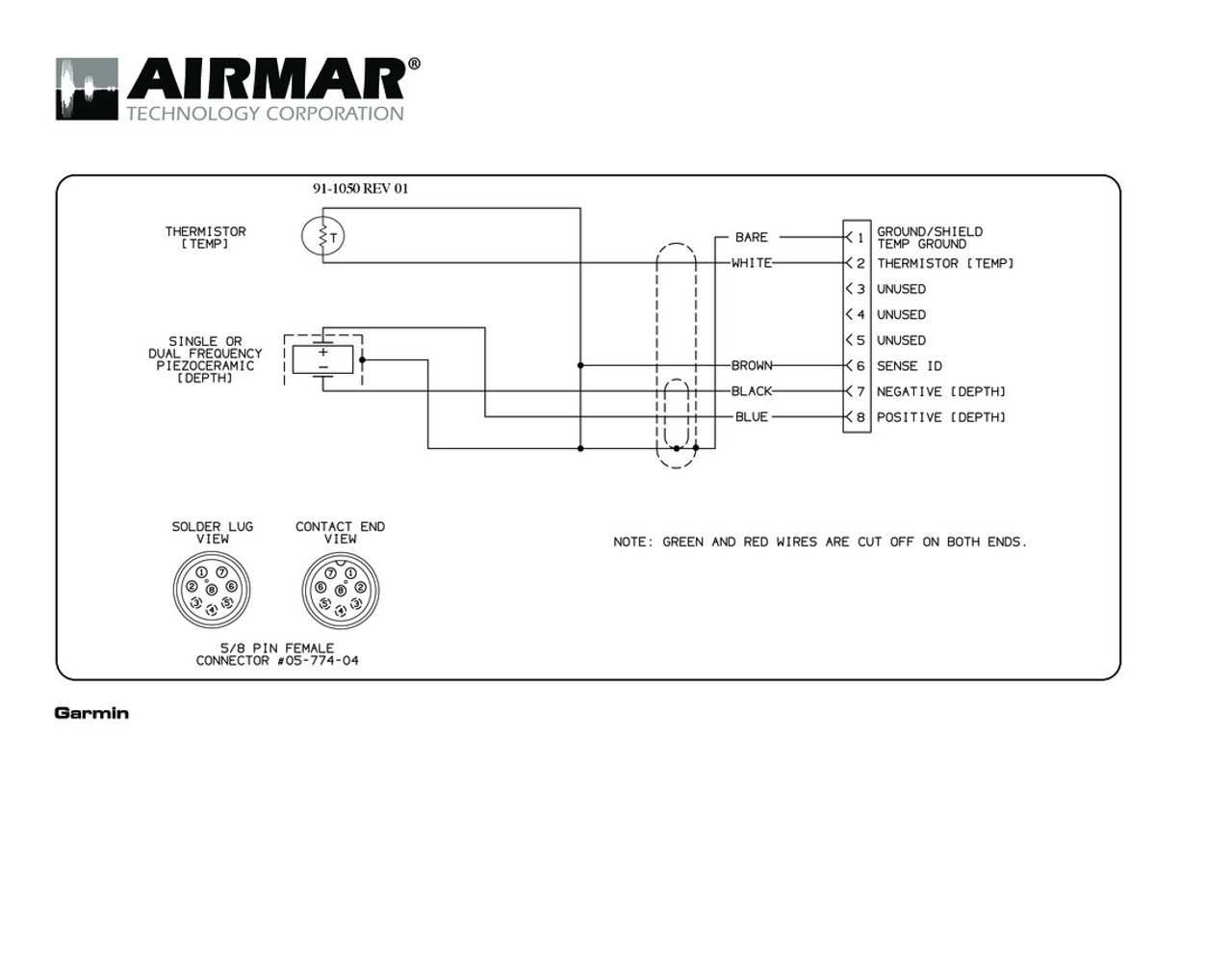Airmar Wiring Diagram Garmin P319 8 pin (D,T) | Blue Bottle Marine