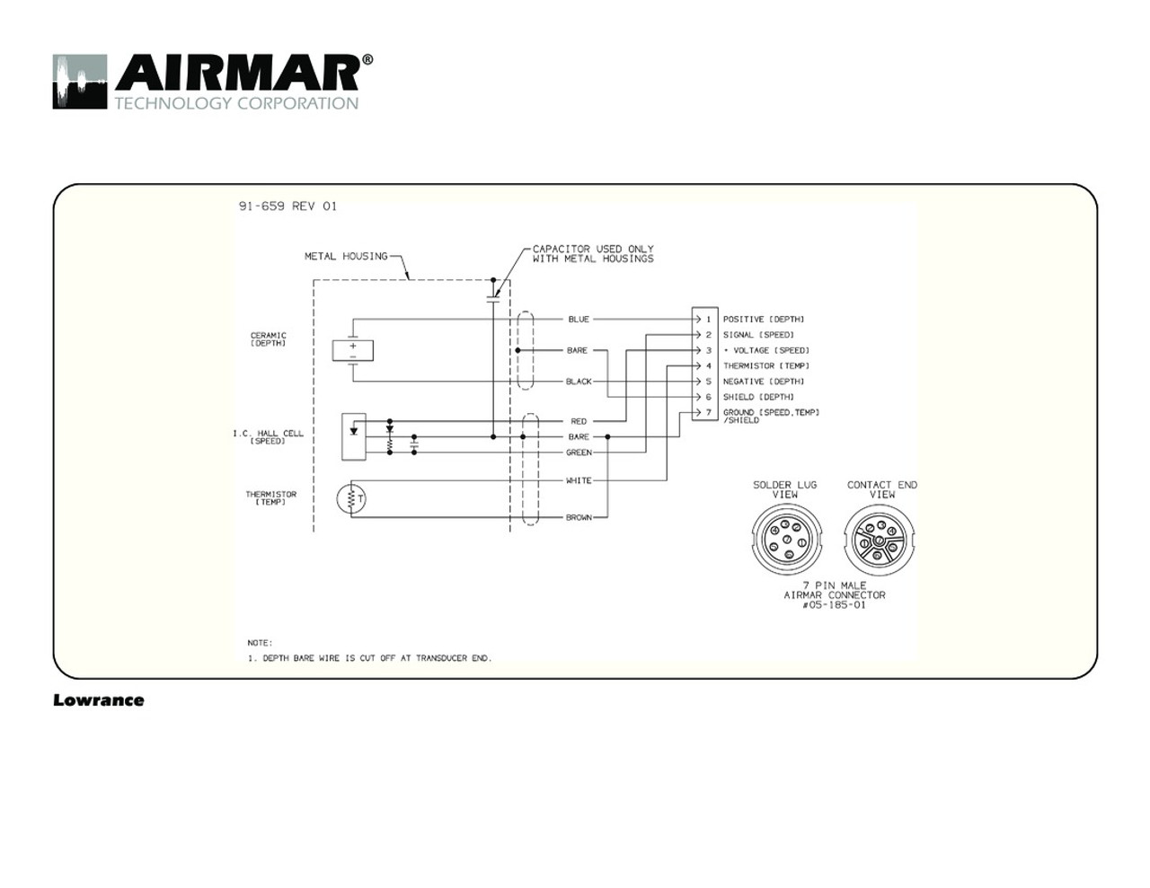 Airmar Wiring Diagram Lowrance 7 pin (D,S,T) | Blue Bottle Marine pressure transducer wiring Blue Bottle Marine