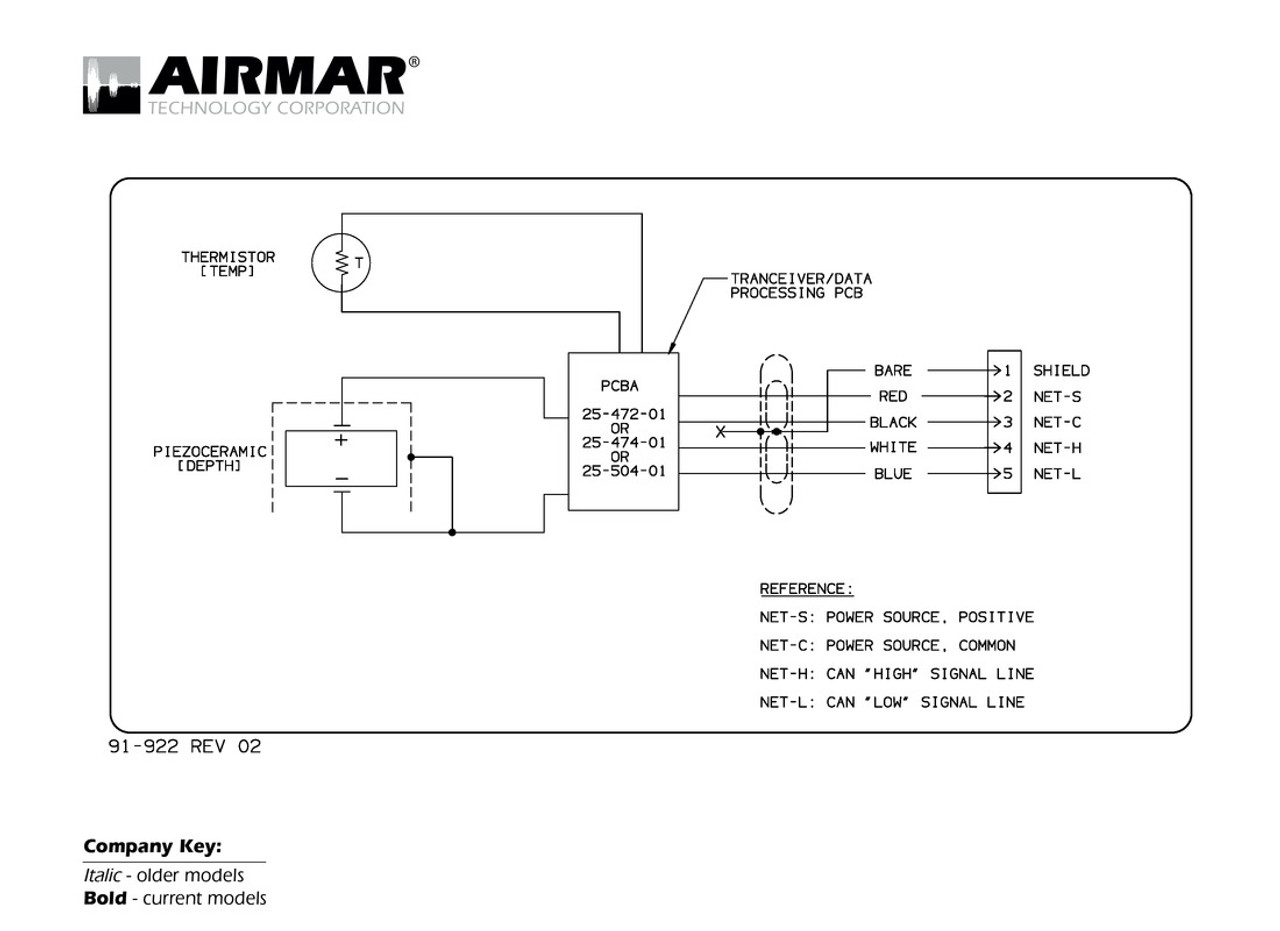 Airmar Wiring Diagram NMEA2000 Depth Temp | Blue Bottle Marine on