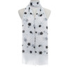 WHITE  Floral Dots Pattern Lightweight Soft Large Premium Scarf