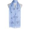 Blue Premium Star Heart Print Large Soft Lightweight All Season Scarves Shawl Wrap