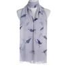 Grey Bird Leaf Pattern Premium Large Soft Lightweight All Seasons Scarve Shawl Wrap