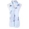 Blue Large Feather Summer Scarf sc8620